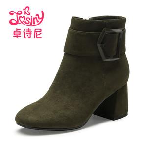 天猫优惠券后26元,卓诗尼冬靴新款高粗跟韩版百搭及踝靴裸筒棉鞋加绒女士短靴子