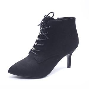 天猫优惠券后32元,卓诗尼马丁靴女冬季加绒新款尖头短筒拉链系带短靴126750215